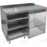 НБМКБКП-12/5БП стол для корзин с бокалами и крылом под посудомойку, с бортом