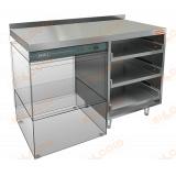 НБМКБКП-12/7БЛ стол для корзин с бокалами и крылом под посудомойку, с бортом