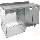 НБМСЗКП-12/6БЛ стол закрытый под посудомоечную машину с полкой, с бортом
