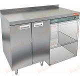 НБМСЗКП-12/6БП стол закрытый под посудомоечную машину с полкой, с бортом