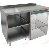 НБМСЗОКП-12/5БП стол закрытый с трех сторон под посудомоечную машину с полкой, с бортом