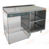 НБМСЗОКП-12/6БЛ стол закрытый с трех сторон под посудомоечную машину с полкой, с бортом