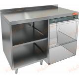 НБМСЗОКП-12/6БП стол закрытый с трех сторон под посудомоечную машину с полкой, с бортом