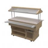 Салат-бар с тепловой поверхностью из искусственного камня WoodLine ТМ-127/ПК/W
