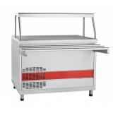 Прилавок  холодильный ПВВ(Н)-70КМ-НШ (открытый, с нейтр. шкафом, одна полка, подсветка,охл. стол, 1120 мм)