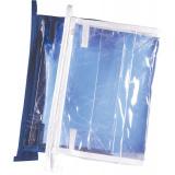 Косметичка из ПЭ для парфюмерии (16 х 12 х 5 см.) окантовка - белая, синяя