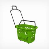 PLB-010 (GR) \ Корзина-тележка, пластиковая, 32л, зеленая