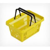 Корзина покупательская ROCK пластиковая усиленная с 2 пластиковыми ручками, желтая