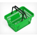 Корзина покупательская ROCK пластиковая усиленная с 2 пластиковыми ручками, зеленая