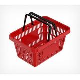 Корзина покупательская ROCK пластиковая усиленная с 2 пластиковыми ручками, красная
