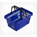 Корзина покупательская ROCK пластиковая усиленная с 2 пластиковыми ручками, синяя