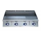 Большая газовая плита контактной жарки HP с 2/3 гладкой и 1/3 рифленой, термостат, 1200 мм