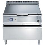 80-л газовая тигельная сковорода с днищем из низкоуглеродистой стали, автоматический привод опрокидывания чаши, термостат