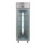 1-дверный мороз. шкаф 670 л, -20°С-15°C, стеклянная дверь, цифр.дисплей, н/сталь AISI 304, для работы от выносн.агрегата