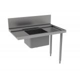 Стол предварительной мойки с ванной 500х400 мм и сушкой к капотным п/м машинам, п>л, 1200 мм