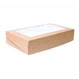 Контейнер бумажный (ланч-бокс) 1000 мл с окном 200x120x45 мм Unibox, крафт (50 шт.)