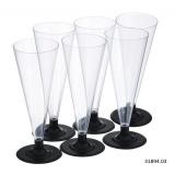 Бокал для шампанского конус PS 150мл, прозрачный (черная ножка) (390 шт.)