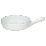 Сковорода порц. «Органика»; фарфор; D=18см; белый,синий