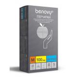 BENOVY Nitrile Chlorinated, перчатки нитриловые, голубые, M, 100 пар в упаковке