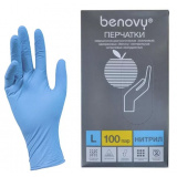 BENOVY Nitrile Chlorinated, перчатки нитриловые, голубые, L, 100 пар в упаковке