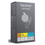 BENOVY Nitrile Chlorinated, перчатки нитриловые, голубые, XS, 50 пар в упаковке