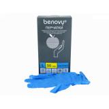 BENOVY Nitrile Chlorinated, перчатки нитриловые, голубые, L, 50 пар в упаковке