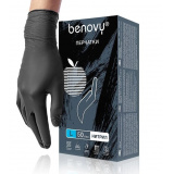 BENOVY Nitrile MultiColor, перчатки нитриловые, черные, L, 50 пар в упаковке