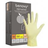 BENOVY Latex Double Chlorinated, перчатки латексные, цвет латекс, M, 50 пар в упаковке