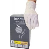 BENOVY Latex Chlorinated, перчатки латексные, неопудренные, цвет латекс, S, 50 пар в упаковке