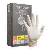 BENOVY Latex Chlorinated, перчатки латексные, неопудренные, цвет латекс, L, 50 пар в упаковке