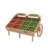 Деревянный развал для овощей и фруктов с ящиками в виде телеги