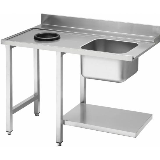 Стол приставной WT51200SHL с мойкой и отв. для отходов 1200 мм д/посудом. маш. т.м. SMEG, серии HTY - 1