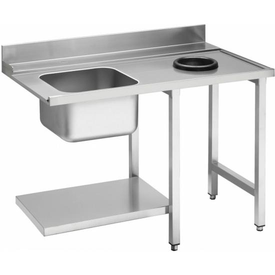 Стол приставной WT51200SHR с мойкой и отв. для отходов 1200 мм д/посудом. маш. т.м. SMEG, серии HTY - 1