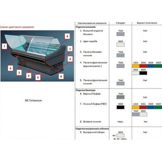 Холодильная витрина титаниум вс 5-150-02 (без боковин, вынос) - 1