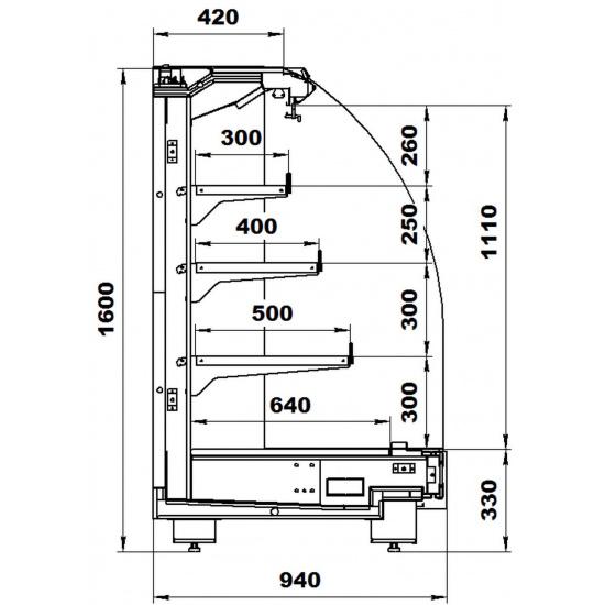 Пристенная витрина варшава 160/94 вхсп-3,75 - 1