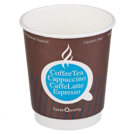 Стакан бумажный 2сл 250 (280) мл d=80мм кофе TQ (25 шт.) - 1