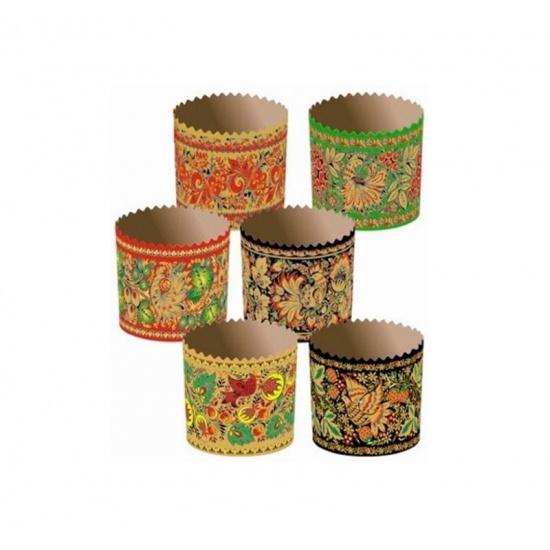 Форма бумажная для кекса, маффинов и кулича хохлома d70xh60мм (2000 шт.) - 1