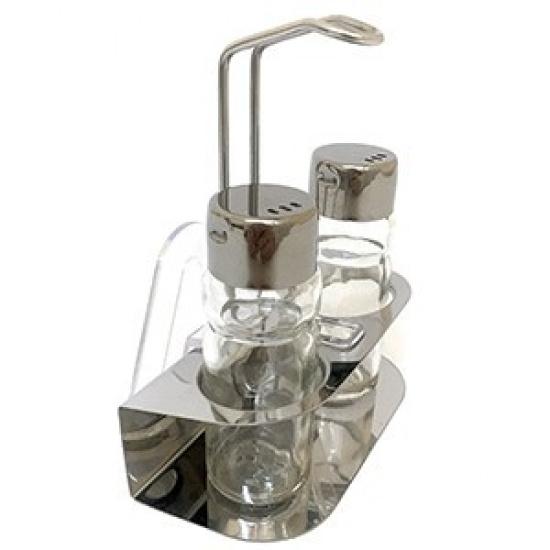 Набор соль/перец+салфетн.на подставке; стекло,сталь нерж. - 1
