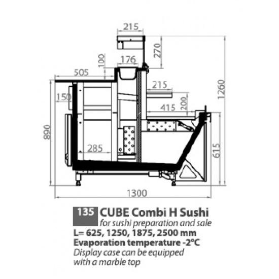 """Холодильная витрина компрессионого типа Эллипс """"Sushi Combi S Cube"""" ВХС-1,25/0,22 - 1"""